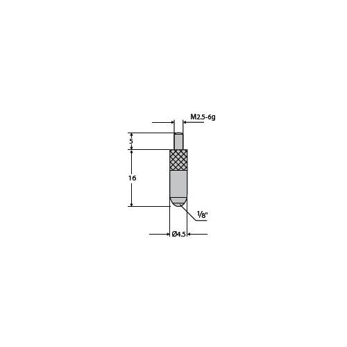 Końcówka pomiarowa do czujnika Sferyczna fi 4,5 mm 1/8″ L - 16 mm Rubin