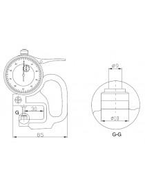 Grubościomierz czujnikowy analogowy ASIMETO 0-10 x 0,01 mm