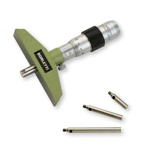 Głębokościomierz mikrometryczny 0-25 x 0,01 mm BORLETTI