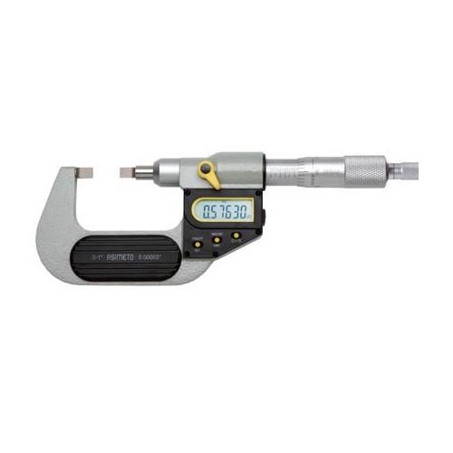 Mikrometr elektroniczny z cienkimi końcówkami pomiarowymi 0-25 mm ASIMETO